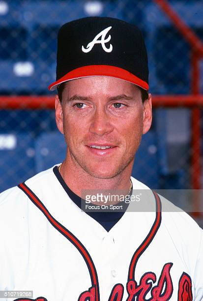 Tom Glavine of the Atlanta Braves poses for this portrait during Major League Baseball spring training circa 1997 at Municipal Stadium in West Palm...
