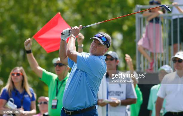 Tom Glavine tees off hole during the second round of the Mitsubishi Electric Classic tournament at the TPC Sugarloaf Golf Club Saturday April 15 in...