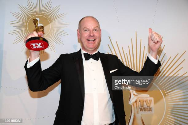 Tom Gleeson poses with the Gold Logie Award for Most Popular Personality during the 61st Annual TV WEEK Logie Awards at The Star Gold Coast on June...