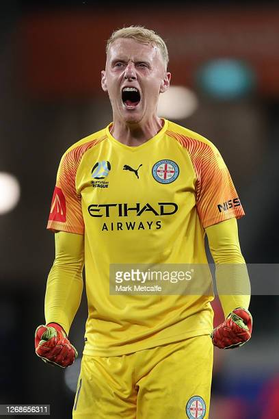Tom Glover of Melbourne City celebrates victory during the ALeague Semi Final match between Melbourne City and Western United at Bankwest Stadium on...