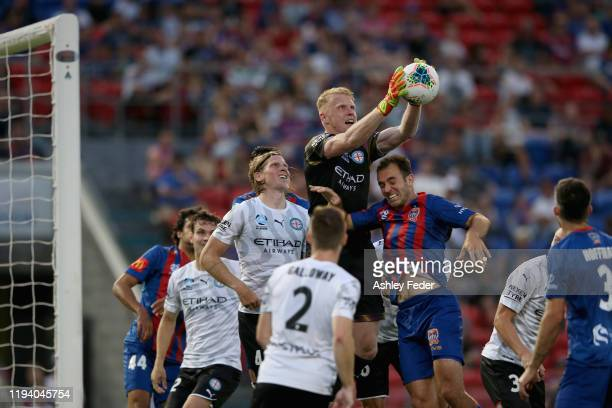Tom Glover of Melbourne City saves a goal during the round 10 ALeague match between the Newcastle Jets and Melbourne City at McDonald Jones Stadium...