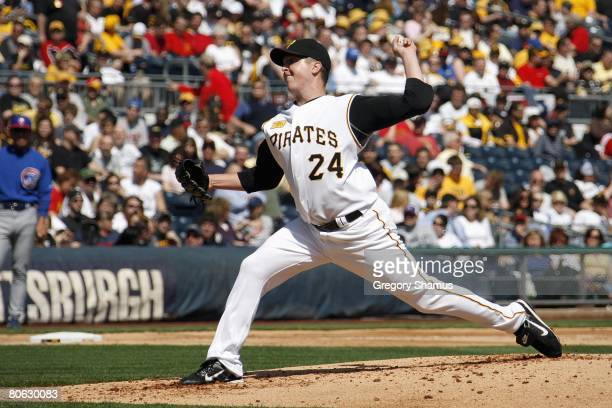 Tom Gorzelanny of the Pittsburgh Pirates delivers a pitch against the Chicago Cubs during the Home Opener for the Pittsburgh Pirates on April 7 2008...