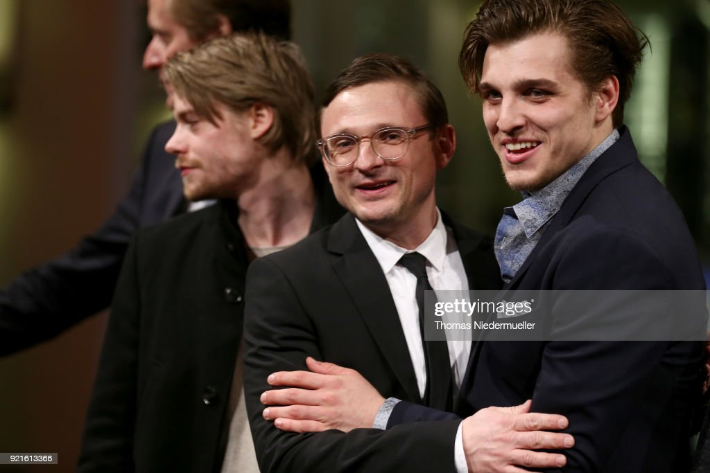 Tom Gramenz, Florian Lukas and Jonas Dassler attend the 'The Silent Revolution' (Das schweigende Klassenzimmer) premiere during the 68th Berlinale International Film Festival Berlin at Friedrichstadtpalast on February 20, 2018 in Berlin, Germany.