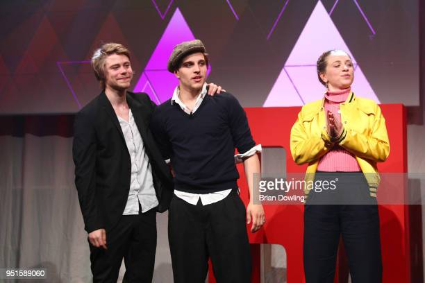 Tom Gramenz Jonas Dassler and AnnaLena Klenke at the New Faces Award Film at Spindler Klatt on April 26 2018 in Berlin Germany