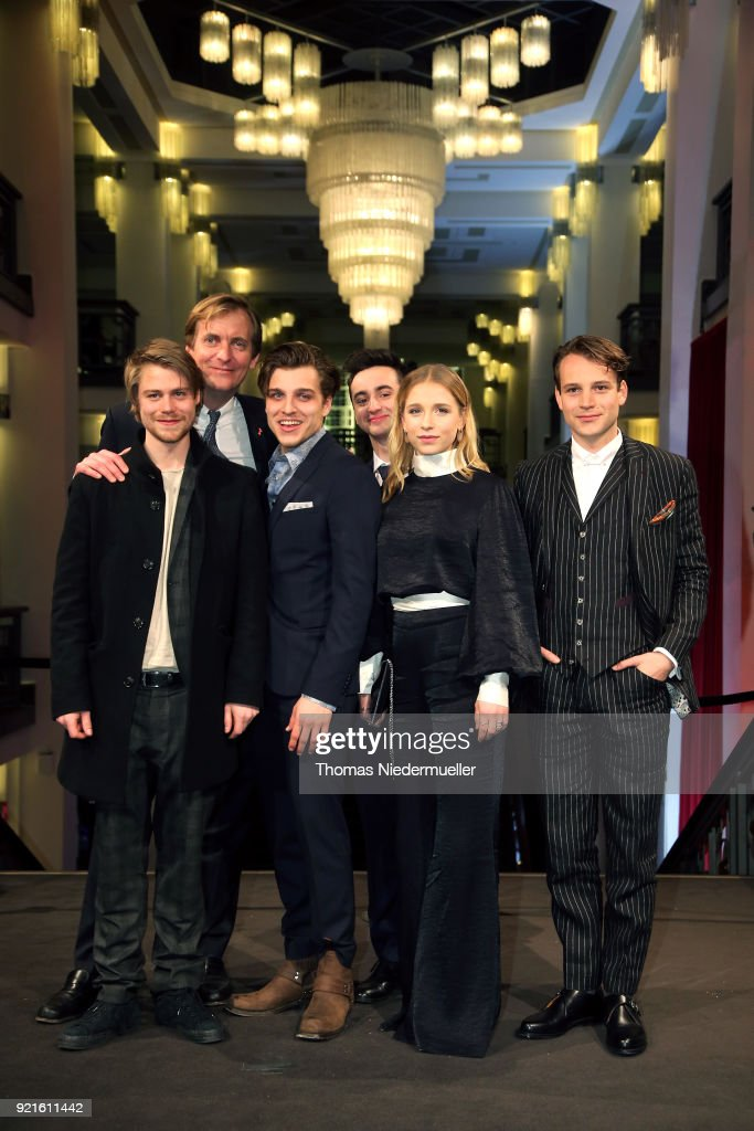 Tom Gramenz, Lars Kraume, Jonas Dassler, Isaiah Michalski, Lena Klenke and Leonard Scheicher attend the 'The Silent Revolution' (Das schweigende Klassenzimmer) premiere during the 68th Berlinale International Film Festival Berlin at Friedrichstadtpalast on February 20, 2018 in Berlin, Germany.