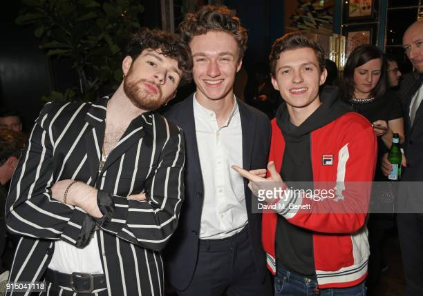 Tom Grennan Harrison Osterfield and Tom Holland attend the InStyle EE Rising Star Party at Granary Square on February 6 2018 in London England