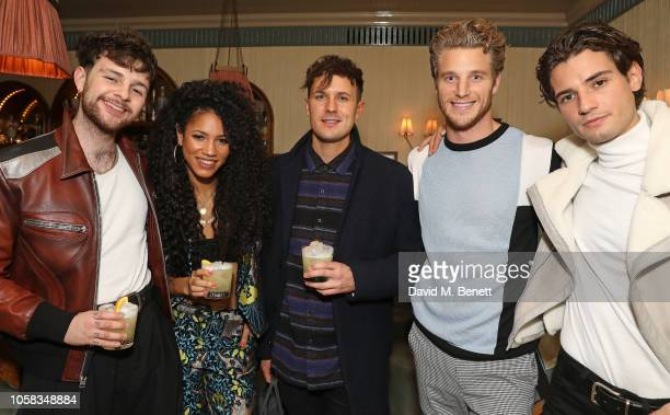 Tom Grennan Vick Hope Jimmy Hill Roger Frampton and Jack Brett Anderson attend the Olly Murs x River Island collection launch dinner at Kettner's...
