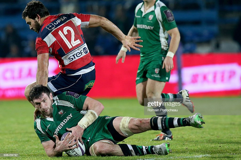 Tom Guest for London Irish in action during the European Rugby Challenge Cup match between Agen and London rish at stade Armandie on January 23, 2016 in Agen, France.