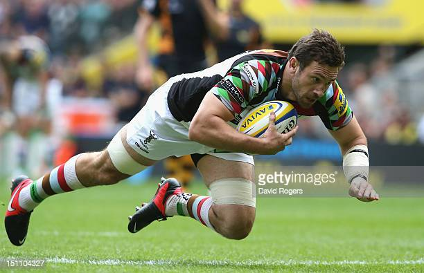 Tom Guest of Harlequins scores a try during the Aviva Premiership match between London Wasps and Harlequins at Twickenham Stadium on September 1 2012...