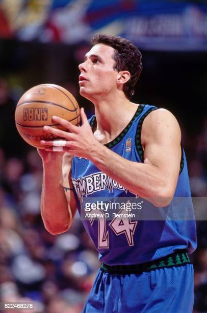 Tom Gugliotta of the Minnesota Timberwolves shoots during the 1997 AllStar Game on February 9 1997 at Gund Arena in Cleveland Ohio NOTE TO USER User...