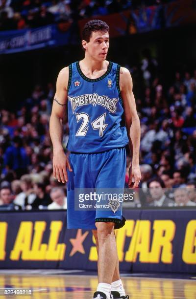 Tom Gugliotta of the Minnesota Timberwolves walks onto the court during the 1997 AllStar Game on February 9 1997 at Gund Arena in Cleveland Ohio NOTE...