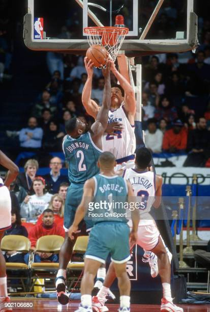 Tom Gugliotta of the Washington Bullets battles for a rebound with Larry Johnson of the Charlotte Hornets during an NBA basketball game circa 1993 at...