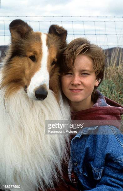 Tom Guiry and Lassie in a scene from the film 'Lassie' 1994
