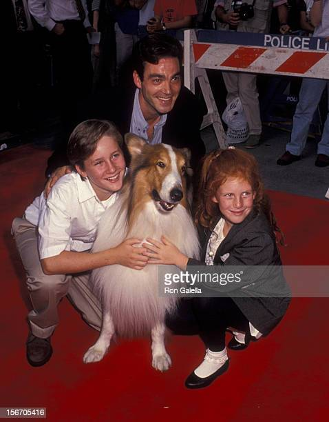 Tom Guiry Jon Tenney and Brittany Boyd attend the premiere of Lassie on July 13 1994 at the Festival Theater in New York City