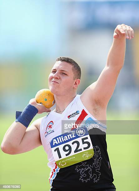 Tom Habscheid of Luxembourg competes in the Men's Shot Put F42 Final during the Morning Session on Day One of the IPC Athletics World Championships...