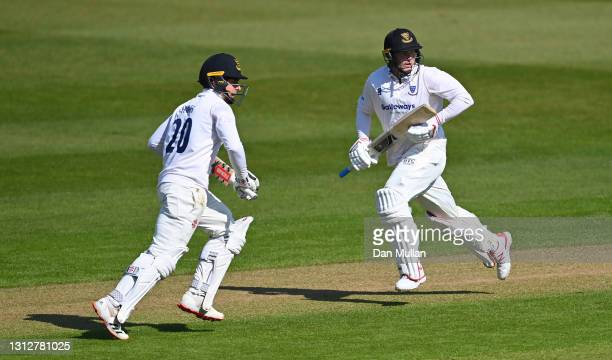Tom Haines and Aaron Thomason of Sussex score runs during day two of the LV= Insurance County Championship match between Glamorgan and Sussex at...