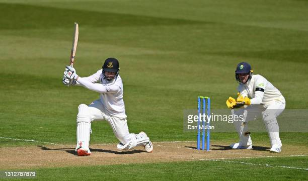 Tom Haines of Sussex bats during day two of the LV= Insurance County Championship match between Glamorgan and Sussex at Sophia Gardens on April 16,...