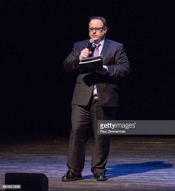 Tom Hall Executive director of the Montclair Film Festival speaks onstage at Sad A Happy Evening with Stephen Colbert Samantha Bee for Montclair Film...