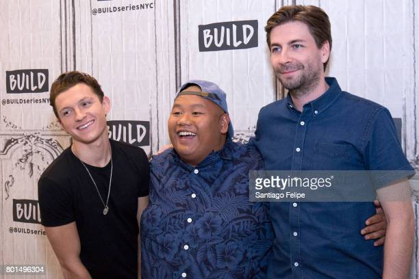 Tom Halland Jacob Batalon and Jon Watts attend Build Presents to discuss the film SpiderMan Homecoming at Build Studio on June 26 2017 in New York...