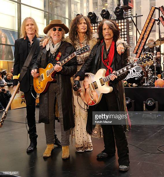 Tom Hamilton Brad Whitford Steven Tyler and Joe Perry of Aerosmith perform on NBC's Today at Rockefeller Plaza on November 2 2012 in New York City