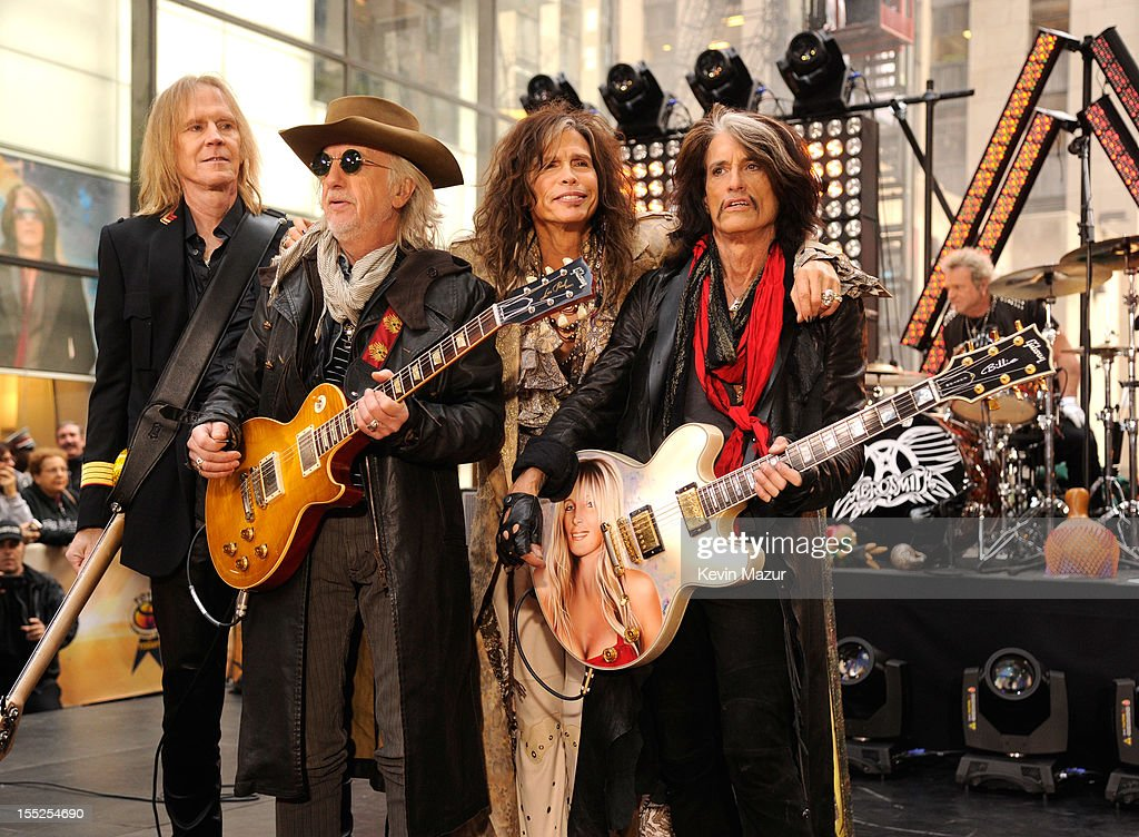 Tom Hamilton, Brad Whitford, Steven Tyler and Joe Perry of Aerosmith perform on NBC's 'Today' at Rockefeller Plaza on November 2, 2012 in New York City.