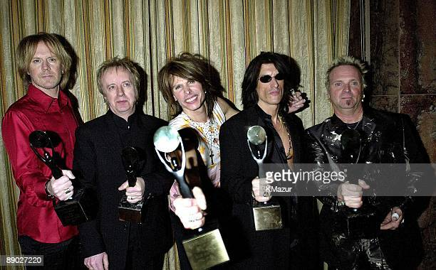 Tom Hamilton Brad Whitford Steven Tyler Joe Perry and Joey Kramer of Aerosmith inductees