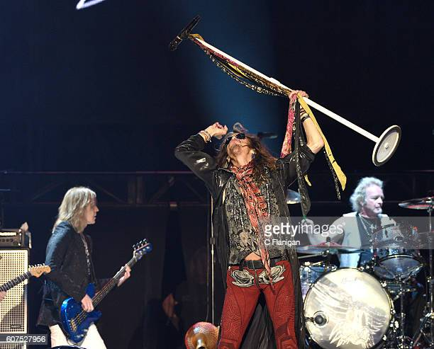 Tom Hamilton Steven Tyler and Drummer Joey Kramer of Aerosmith perform on the Sunset Cliffs stage during the 2016 KAABOO Del Mar at the Del Mar...