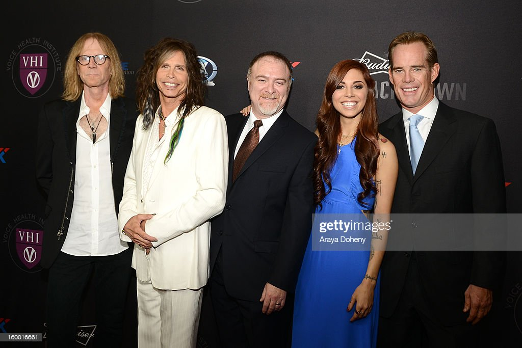 Tom Hamilton, Steven Tyler, Dr. Steven Zeitels, Christina Perri and Joe Buck arrive at The Voice Health Institute's Raise Your Voice Benefit at Beverly Hills Hotel on January 24, 2013 in Beverly Hills, California.