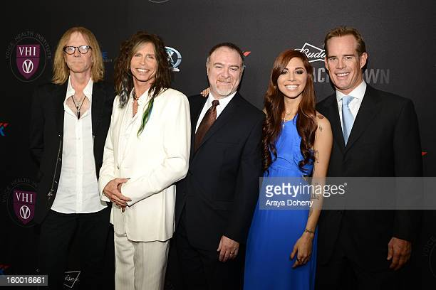 Tom Hamilton Steven Tyler Dr Steven Zeitels Christina Perri and Joe Buck arrive at The Voice Health Institute's Raise Your Voice Benefit at Beverly...