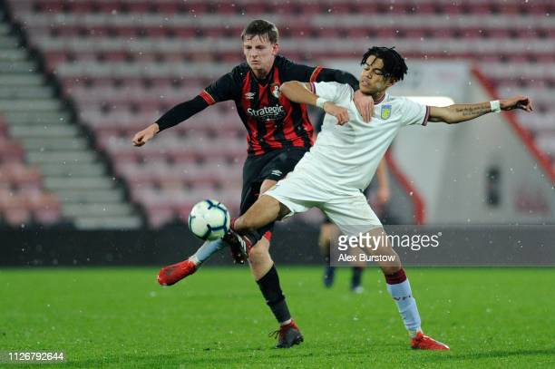 Tom Hanfrey of AFC Bournemouth battles for possession with Tyreik Wright of Aston Villa during the FA Youth Cup Fifth Round Match between AFC...