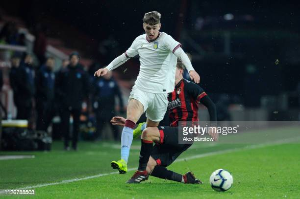 Tom Hanfrey of AFC Bournemouth tackles Lewis Brunt of Aston Villa during the FA Youth Cup Fifth Round Match between AFC Bournemouth U18 and Aston...