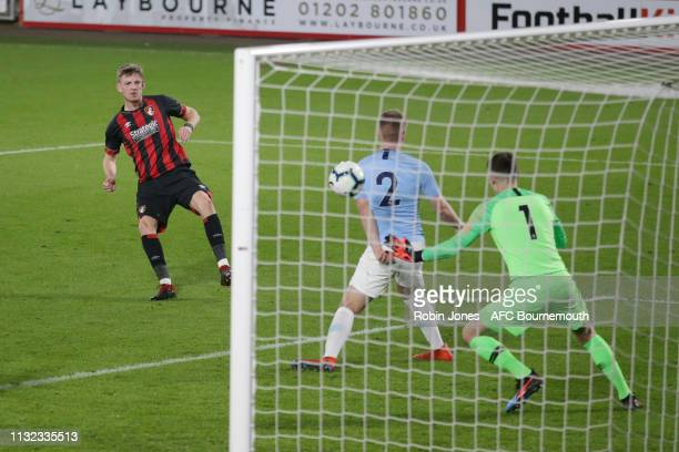 Tom Hanfrey of Bournemouth scores a goal to make it 11 during the FA Youth Cup match between AFC Bournemouth U18 and Manchester City U18 at Vitality...