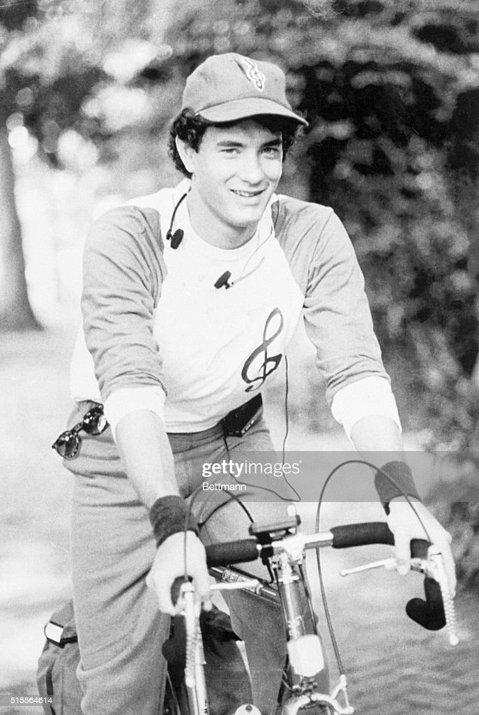 Tom Hank on a bicycle in Washington, DC, during the filming of The Man with One Red Shoe.