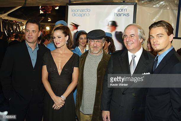 Tom Hanks Amy Adams Steven Spielberg Frank Abagnale and Leonardo DiCaprio at the premiere of Catch Me If You Can at the Village Theatre in Westwood...