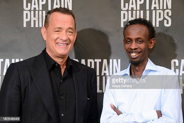 Tom Hanks and Barkhad Abdi attend the 'Captain Phillips' Photo Call at Four Seasons Hotel Los Angeles at Beverly Hills on September 30 2013 in...
