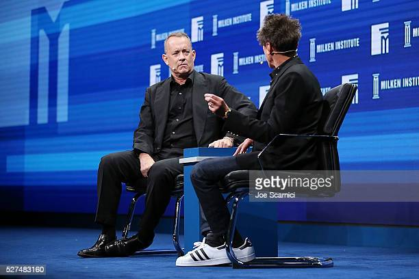 Tom Hanks and Brian Grazer speak onstage at the 2016 Milken Institute Global Conference on May 02 2016 in Beverly Hills California