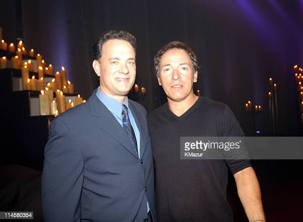 Tom Hanks and Bruce Springsteen photographed backstage during the live broadcast of 'America A Tribute To Heroes' in New York NY September 21 To make...