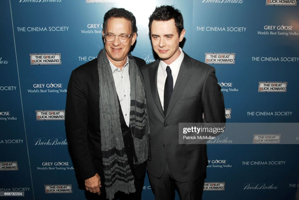 Tom Hanks and Colin Hanks attend THE CINEMA SOCIETY & BROOKS BROTHERS host a screening of 'THE GREAT BUCK HOWARD' at Tribeca Grand Hotel on March 10, 2009 in New York City.
