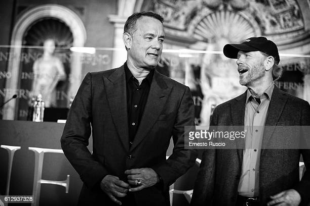 Tom Hanks and director Ron Howard attend a photocall for 'Inferno' at Palazzo Vecchio on October 6, 2016 in Florence, Italy.