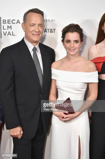 Tom Hanks and Emma Watson attend 'The Circle' Premiere at the BMCC Tribeca PAC on April 26 2017 in New York City