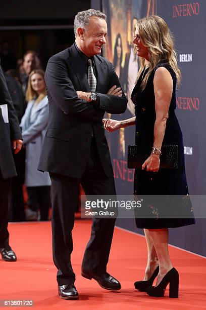 Tom Hanks and his wife Rita Wilson attend the German premiere of the film 'INFERNO' at Sony Centre on October 10 2016 in Berlin Germany