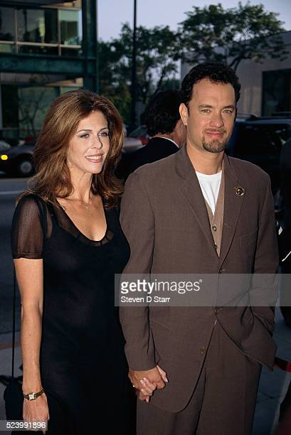 Tom Hanks and his wife Rita Wilson attend the premiere of the 1995 film Apollo 13 Hanks starred in the film which was based on the true story of the...