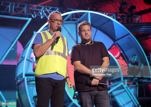 Tom Hanks and James Corden speak onstage during the XQ Super School Live presented by EIF at Barker Hangar on September 8 2017 in Santa California