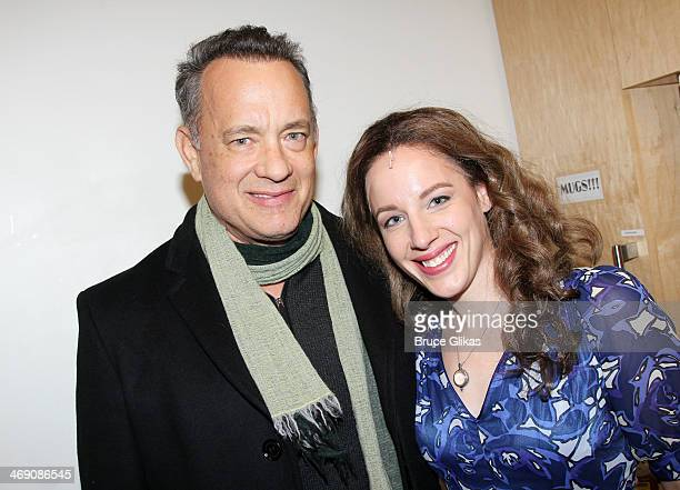 Tom Hanks and Jessie Mueller as 'Carole King' pose backstage at the hit Carole King musical 'Beautiful' on Bropadway at The Stephen Sondheim Theater...