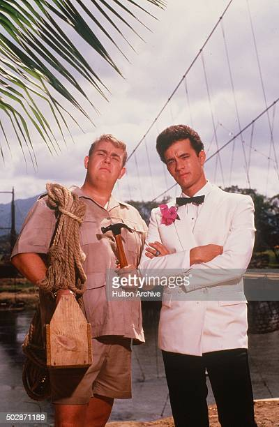 Tom Hanks and John Candy pose for the TriStar Pictures movie Volunteers circa 1984