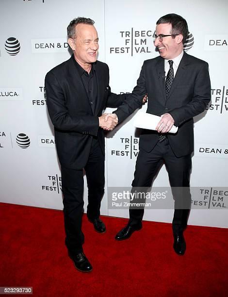 Tom Hanks and John Oliver attend the Tribeca Talks Storytellers: Tom Hanks With John Oliver - 2016 Tribeca Film Festival at John Zuccotti Theater at...