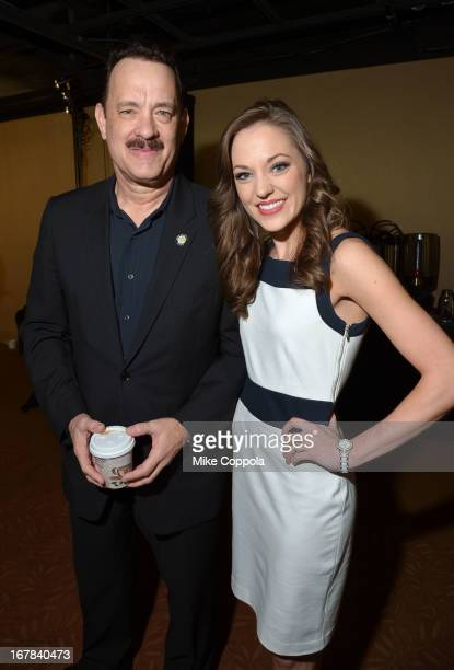 Tom Hanks and Laura Osnes attend the 2013 Tony Awards Meet The Nominees Press Reception on May 1 2013 in New York City
