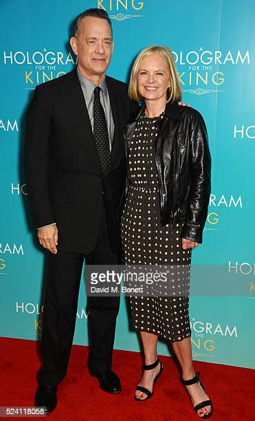 Tom Hanks and Mariella Frostrup attend the UK Premiere of A Hologram For The King at the BFI Southbank on April 25 2016 in London England