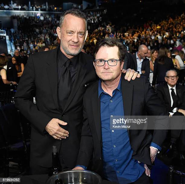 Tom Hanks and Michael J Fox attend 31st Annual Rock And Roll Hall Of Fame Induction Ceremony at Barclays Center of Brooklyn on April 8 2016 in New...