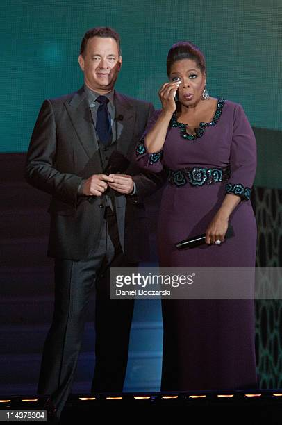 Tom Hanks and Oprah attend Surprise Oprah! A Farewell Spectacular at the United Center on May 17, 2011 in Chicago, Illinois.